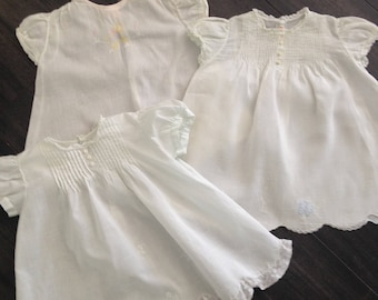 Three White Hand Made in the Philippines Infant Outfits with Embroidery