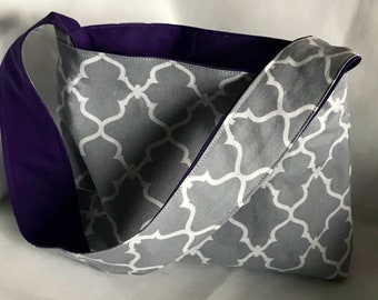 Reversible Girl's Purse-Grey and Purple