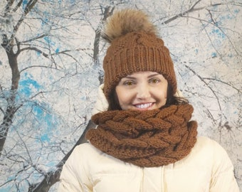 Knitted cap and scarf