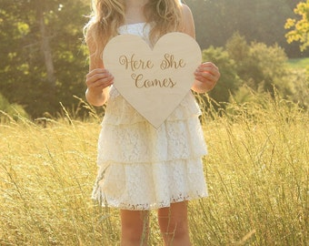 Here She Comes Sign Wood Here She Come Rustic Sign Rustic Wedding Sign Barn Wedding #DownInTheBoondocks