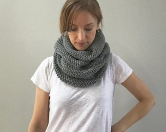 Wool cowl infinity scarf : gray scarf | all natural wool | single loop snood | neck warmer | handmade | knit crochet
