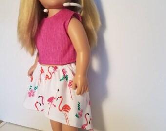 "American girl doll clothes,  18"" dress. Skirt and shirt set!  Its flamingos!!"