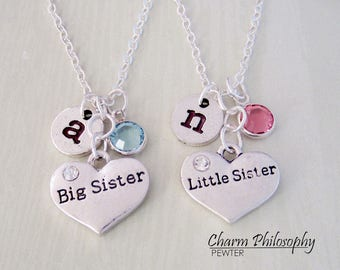 2 Sisters Necklaces - Big Sister, Little Sister - Matching Necklaces - Personalized Jewelry - Twins Gifts