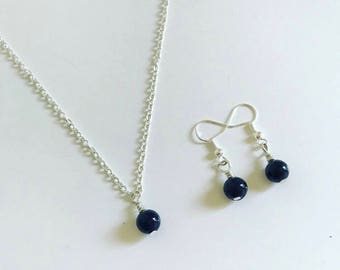 Blue goldstone necklace with matching earrings