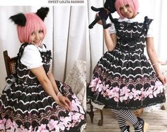 Sweet Lolita Victorian Parasol Bib Jeweled Corset Dress