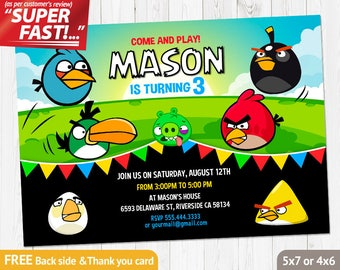 Angry Birds Invitation PRINTABLE, Angry Birds Birthday Invitation, Angry Birds Invite, Angry Birds Party Invites, FREE Thank You Card, v1