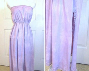 Vintage Slip - Repurposed Slip - Strapless Nightgown - Cover up - Hand Dyed Slip - Plum Nylon Slip Dress - Vintage Lingerie - Gift for Her