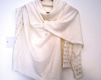 Ivory lace for romantic woman shawl