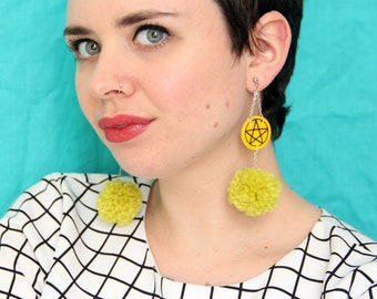 Tarot Statement Pom Pom Earrings | Pentacles