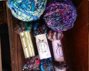 Home spun wool stash filler samples