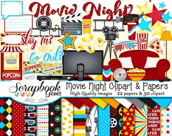 MOVIE NIGHT Clipart and Papers Kit, 30 png Clip arts, 22 jpeg Papers Instant Download dvd cinema couch camera video popcorn candy stars soda