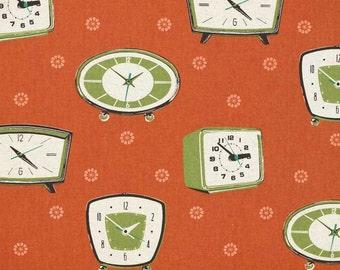 HALF YARD Kokka Fabric  - Melody Miller - Olive Green Vintage Clocks on Rust Coral - Ruby Star Shinning - Japanese Import Fabric