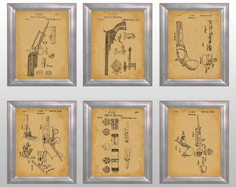 Colt Revolver Patent Print Colt Wall Art Cowboy Decor Wild West Art Western Poster Man Cave Artwork Gift for County Sheriff Set of 6 PP3601