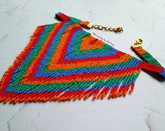 Bohemian Statement Necklace, beaded Necklace, fringe necklace, choker statement, native american jewelry, choker with fringe, beaded choker