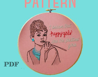 Audrey Hepburn Embroidery Pattern,Beginner Embroidery Kit,Instant Download PDF,Hand Embroidery Pattern,Printable Stitching Pattern,Sampler