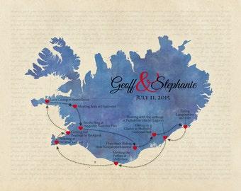 Custom Anniversary Gift, Wedding Present, Personalized Iceland Map, Song Lyric Print, Destination Wedding Keepsake, Honeymoon Memento