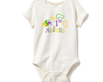 My First Mardi Gras, Personalized Shirt, Name Shirt, Infant Shirt, Infant Bodysuit, Mardi Gras Shirt, Infant Mardi Gras Shirt, Custom Shirt