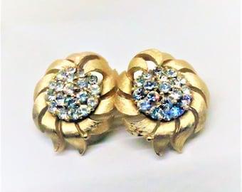 Rhinestone Earrings - Vintage, Crown Trifari Signed, Gold Tone, Clip on