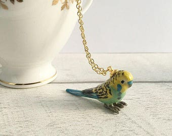 Budgie Necklace, Budgie gift, Budgie ceramic pendant, Bird Jewellery, Bird necklace, Budgie Pendant, Ceramic Necklace, gifts for her
