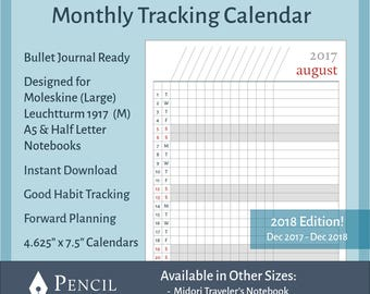 2018 Monthly Printable Calendar Tracker for Bullet Journals, Moleskine & Leuchtturm