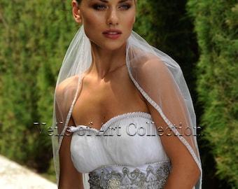 Designer One Tier Embroided Bridal Wedding Veil Fingertip Style VE309 NEW CUSTOM VEIL