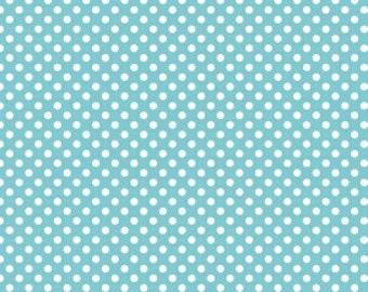 Modern quilting and sewing fabric by the yard - Riley Blake Fabric - Small Dot Aqua - Polka Dot Fabric - Aqua Polka Dot - Quilt basic