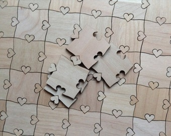 Heart Tab Puzzle Pieces for Wedding Guest Book