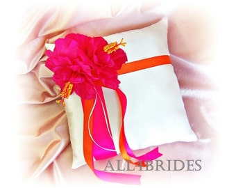 Pink hibiscus and orange wedding ring bearer pillow, hot pink and orange wedding ring cushion