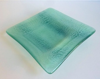 Fused Glass Square Dish in Shades of Aqua by BPRDesigns