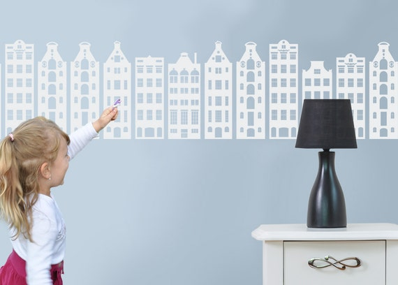 Baby Wall Decals Houses Nursery Decoration Headboard AMSTERDAM Wall Art Baby Kids Toddlers Room Decals Crib Pattern House Art