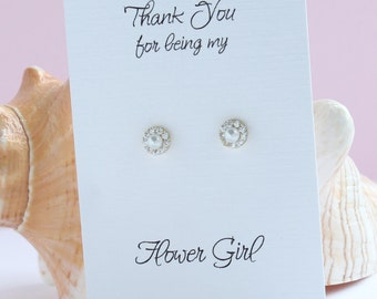 Flower Girl Gift, Tiny Pearl Halo Earrings,  CZ Pearl Earrings, Pearl Stud Earrings, Flower Girl Pearl Earrings, Flower Girl Card, FE411