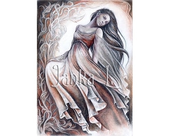 """Elven lady - High quality print - 10,62"""" x 7,48"""" or 15,35"""" x 11,1"""" Print, Fantasy art elven drawing signed print dancing"""
