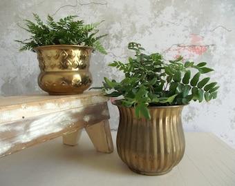 Vintage Brass Planters , Pair of Solid India Brass Pots , Tarnished Brass Planter Pots , Boho Decor , Vintage Home Decor