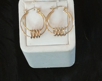 14K Geometric Design Earrings