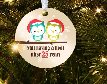 25th Wedding Anniversary Christmas Ornament Gift