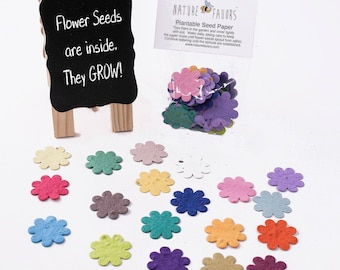 100 Plantable Seed Paper Flower Shapes Grow Beautiful Wildflowers - Table Decorations, DIY Thank You Cards, Save the Dates or Invitations