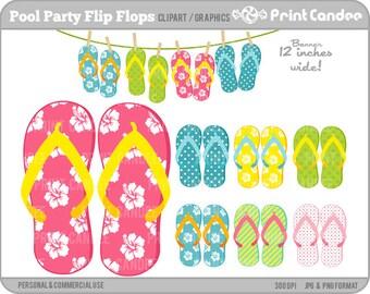 70% OFF SALE! - Pool Party Flip Flops - Digital Clip Art - Personal and Commercial Use - flip flop summer pool fun hawaiian flower beach
