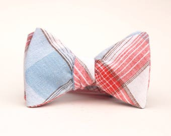 red, white, and blue linen bow tie  // mens self tie bow tie // patriotic plaid bow tie