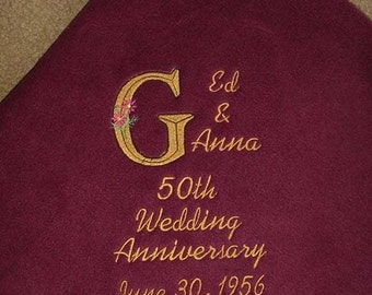 Personalized Wedding Bridal Anniversary 50 x 60 Blanket Fleece Throw  25th Anniversary 50th Anniversary  Can add any Anniversary Embroidered