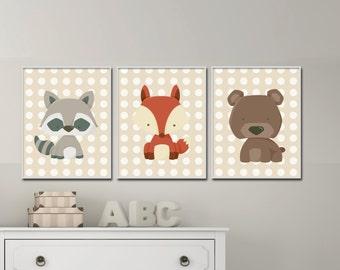 Woodland Nursery Wall Print, Raccoon Fox and Bear Art Prints, Nursery Prints, Baby Boy Nursery Bedroom Decor H193