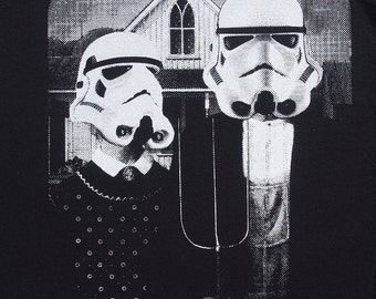 Star Wars American Gothic parody on mens t shirt- american apparel black, available in S,M, L ,XL, 2XL,  worldwide shipping