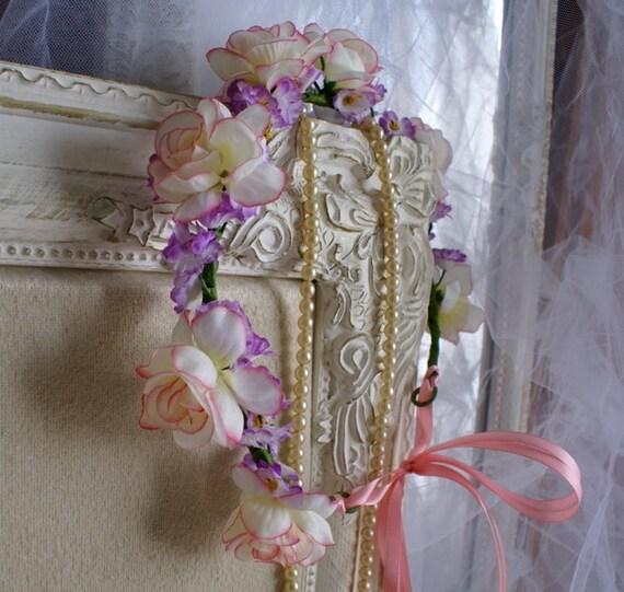 flower crown spring flower circlet krone hochzeit kopf kranz. Black Bedroom Furniture Sets. Home Design Ideas