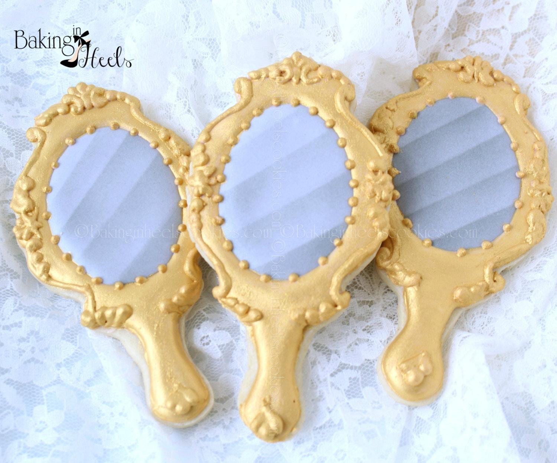 Top Gold Mirror Cookies Hand Mirror Cookies Wedding Cookies UK26