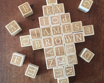 Set of 35 Custom-Engraved Alphabet Blocks Baby Shower Guest Book Alternative