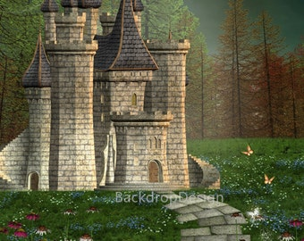 Castle Backdrop - enchanted forest, fairy tale - Printed Fabric Photography Background G0107