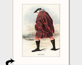 "Macaulay Family Art Print w/Mat (Scottish Lodge Decor Gift, Red Plaid Kilt ""A Scottish Gale"") Matted Scotland Art --- ""Clan Macaulay"" No. 84"