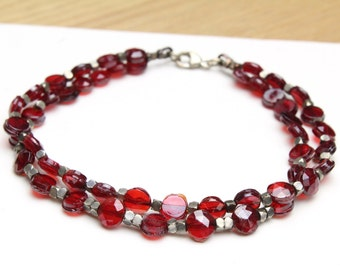 """Multi Strand Red Beaded Bracelet with Vintage Red Beads and Cut Silver Beads 7.5"""""""