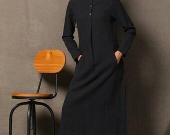Black linen dress, maxi dress, long sleeves dress, pocket dress, autumn dress, womens dresses, button dress, midi dress, handmade dress C610