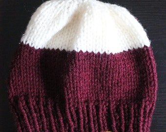 Knitted Hat - Hand-knit in two colours. Bold contrast.