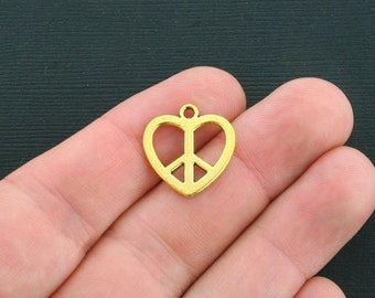 10 Peace Heart Charms Antique Gold Tone - GC392